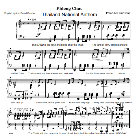 Thailand National Anthem (sheet music with Englisl lyrics)